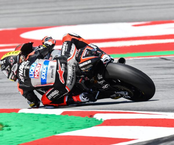 Moto2 Motorrad in einer Kurve