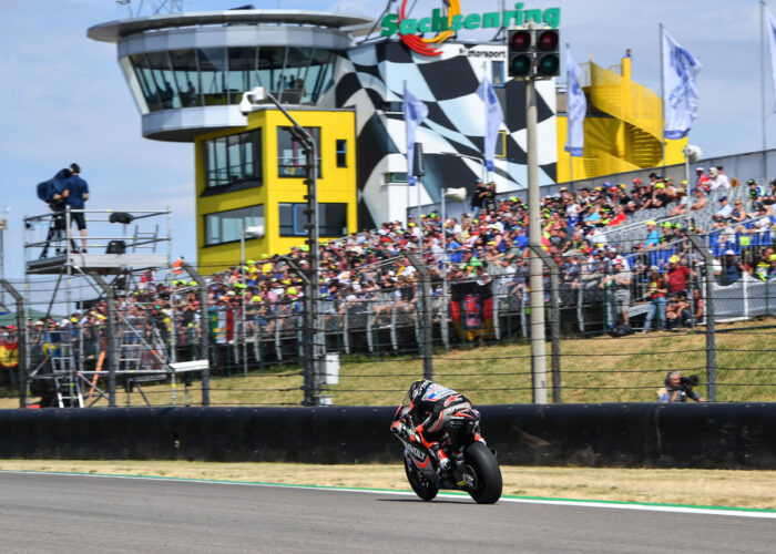 Moto2 motorcycle on the home straight