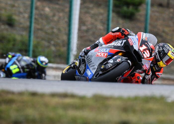 Moto2 motorcycle in a corner