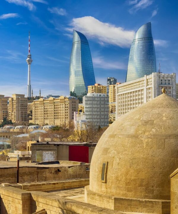 View from old town. Panoramic view of Baku - the capital of Azerbaijan located by the Caspian See shore.