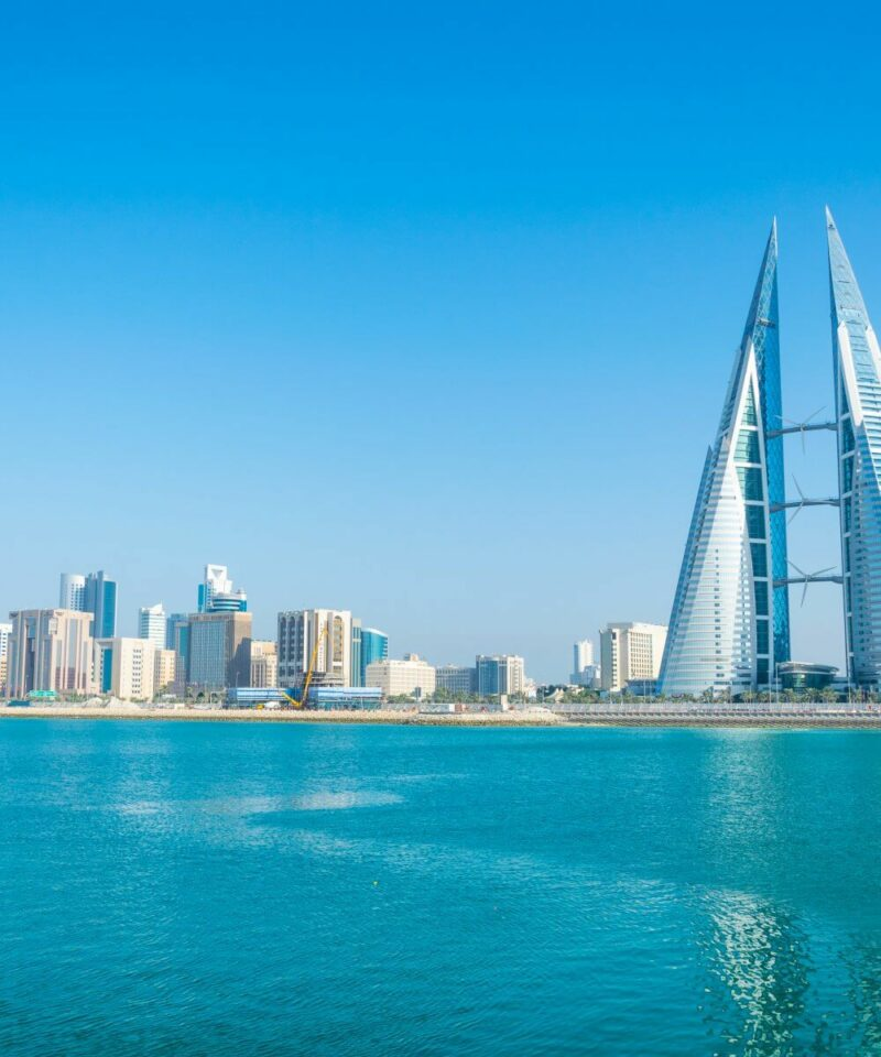 Skyline of Manama dominated by the World trade Center building, Bahrain.