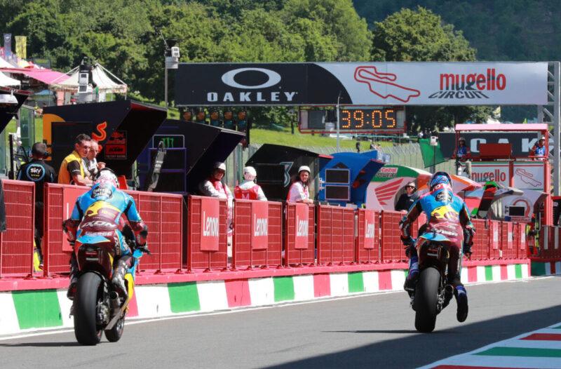 2 Riders leaving the pitlane Moto2